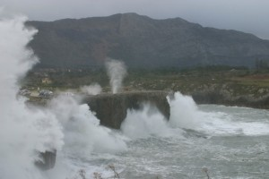 The blowholes at Pria, Llanes on a particularly stormy winter's day