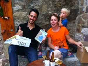 Ok, so it's not *all* hard work distributing the book. Dropping it off at La Reunion bar in Potes, great source of local info for the Picos. And delicious craft beers.