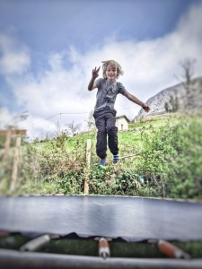Trampolining in the privacy of the garden